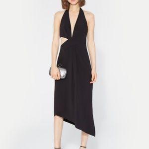 Halston Heritage V Neck Asymmetric Dress 0 NWT 295